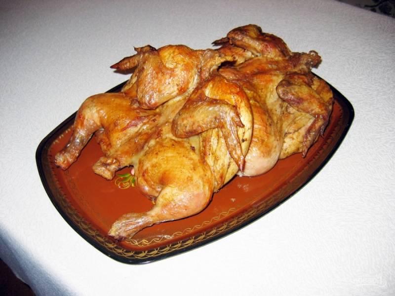 4.Перекладываю птицу на блюдо, горячей её подаю к столу. Приятного аппетита!