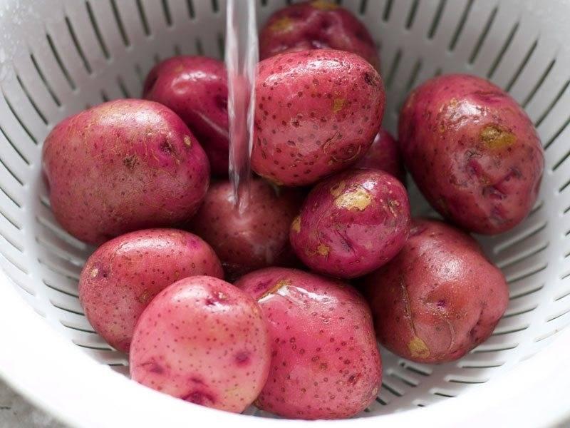 1.Выложите картофель в дуршлаг и хорошенько промойте ее, чтобы не осталось грязи.