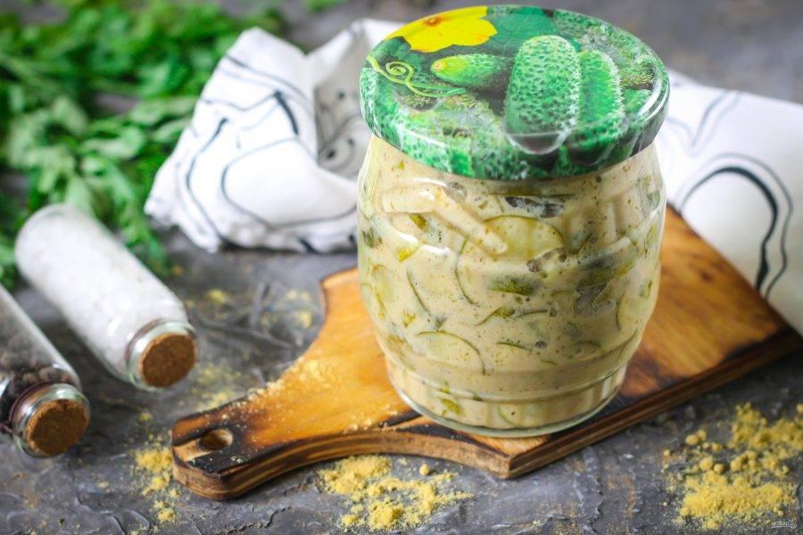 Салат из огурцов с горчицей на зиму полностью готов!