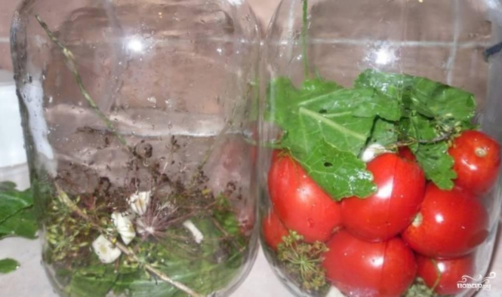 Раскладываем ингредиенты по чистым банкам. На одну трехлитровую: 6 очищенных зубчиков чеснока, лист хрена, 2 зонтика укропа, по одному листу смородины и вишни. Далее закладываем вымытые томаты.
