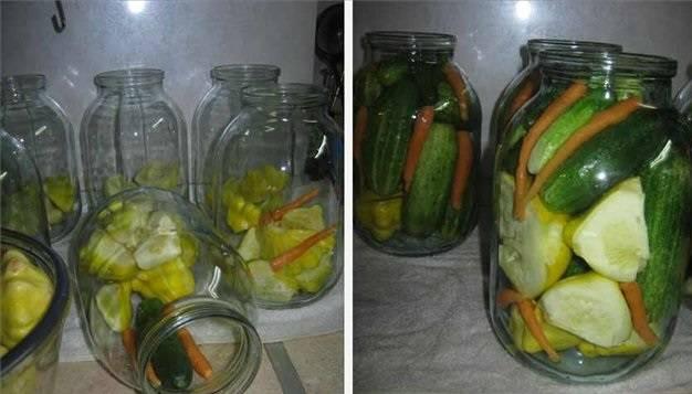 В подготовленные, чистые баночки закладываем:  огурцы (целиком) и порезанные патиссоны, а также молодую морковь. Заливаем сверху кипятком на 10 минут.