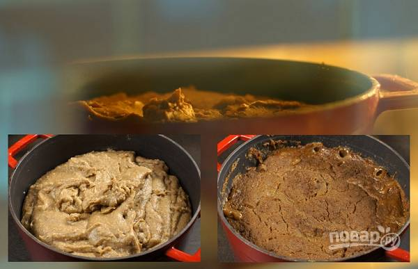 1. Муку соедините с водой, выложите в жаропрочную посуду и поставьте в холодную духовку. Томите при температуре 60-65 градусов около 1.5-2 часов.