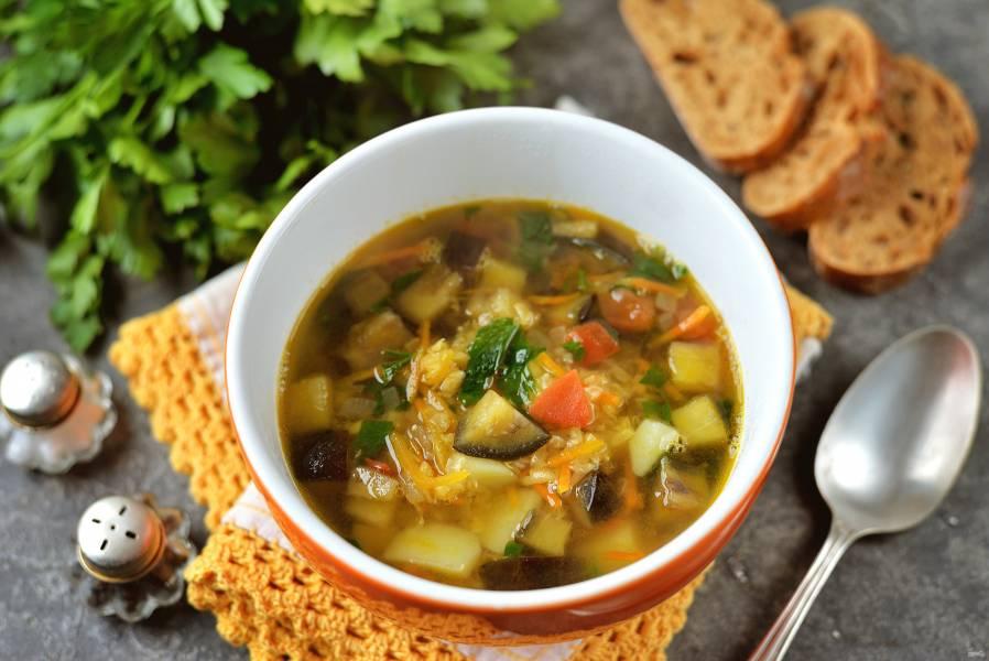 Суп с чечевицей и баклажанами