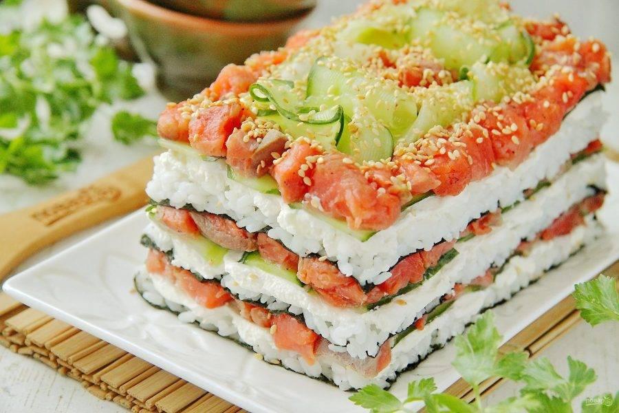 """Салат """"Суши"""" готов. Приятного аппетита!"""
