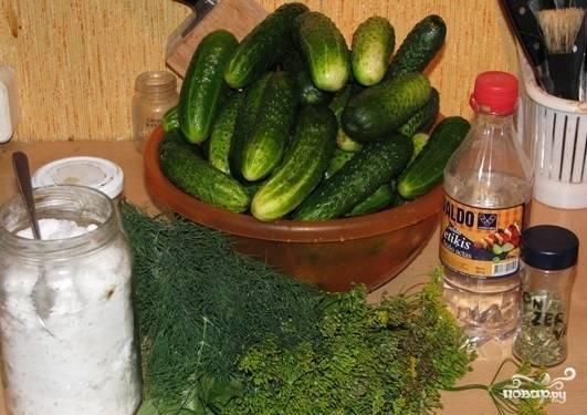 Приготовить мелкие огурчики, не более 10 см и все приправы и специи.