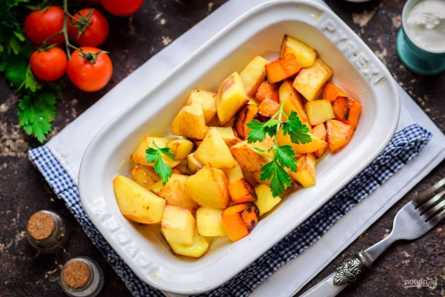 Тыква с картошкой запеченная в духовке