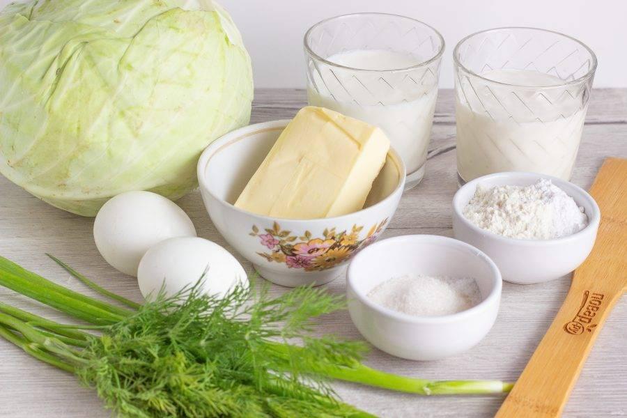 Подготовьте все необходимые ингредиенты. Для начинки яйца заранее отварите.