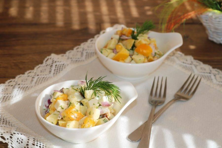 Подавайте в большом салатнике, либо порционно.