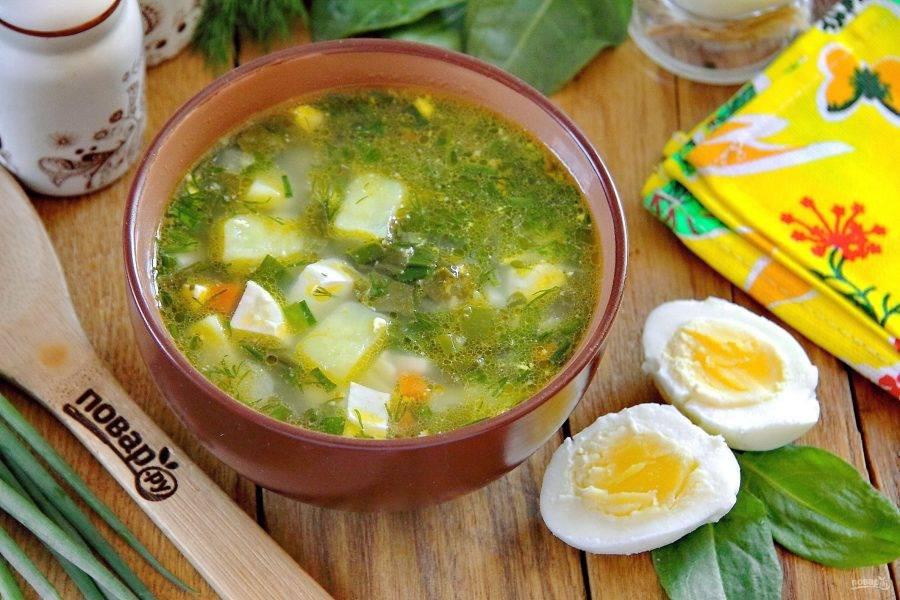 Летний суп с яйцом готов. Приятного аппетита!