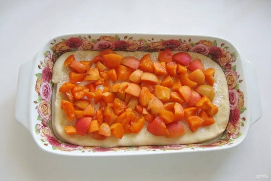Абрикосы помойте, удалите косточки и нарежьте небольшими кусочками. Тесто посыпьте крахмалом, чтобы он впоследствии впитал абрикосовый сок, который выделится в процессе выпекания. Выложите абрикосы на тесто.