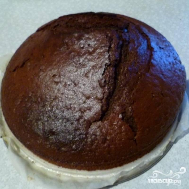 Испечь шоколадный бисквит по своему любимому рецепту. Остудить. Разрезать на 2 части.