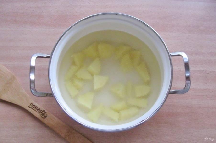 Картофель очистите, помойте и нарежьте кубиками, выложите в кастрюлю. Залейте куриным бульоном.