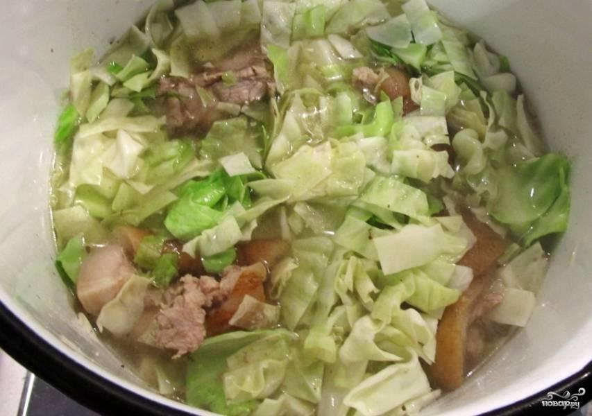 Через полтора часа добавьте в кастрюлю шинкованную капусту, мелко нарезанные тимьян и укроп.