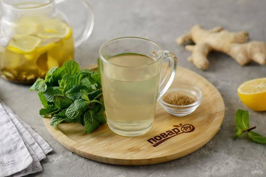 Согревающий чай с имбирем готов, приятного аппетита!