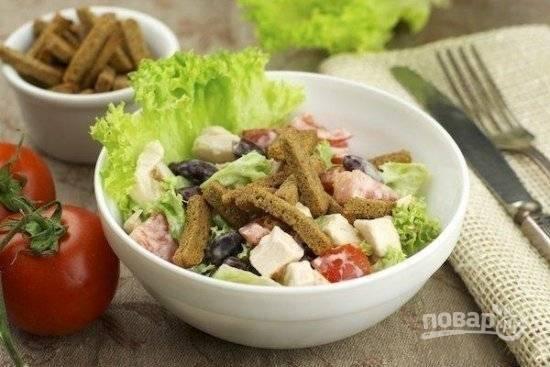 Салат из фасоли и курицы