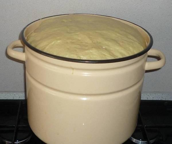 5. В уже хорошо поднявшееся тесто нужно добавить растительное масло и при необходимости еще немного муки.