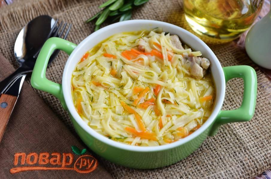 Суп с лапшой и куриными крылышками