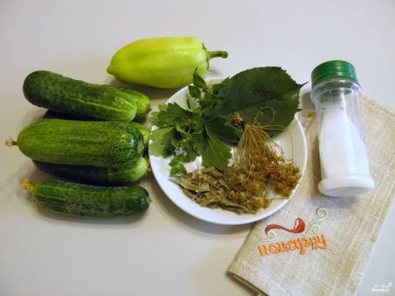 Приготовьте огурчики и зелень, воду и соль для рассола. Огурчики вымойте и замочите в холодной воде на 2 часа минимум.
