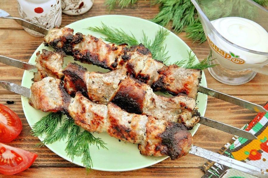 Снимайте шампуры с огня и подавайте к столу. Приятного аппетита!