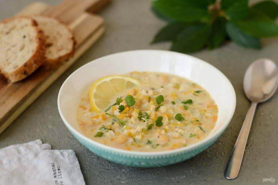 Лимонный суп с рисом готов, приятного вам аппетита!