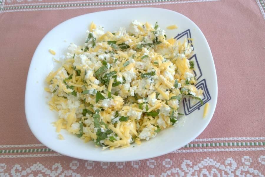 1. Для начала смешаем в миске до однородности творог, тертый твердый сыр, сулугуни, измельченный чеснок, специи и зелень.