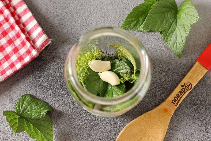 Крышки и банки простерилизуйте любым удобным способом. На дно выложите лист хрена, листья смородины, укроп и очищенные зубчики чеснока.