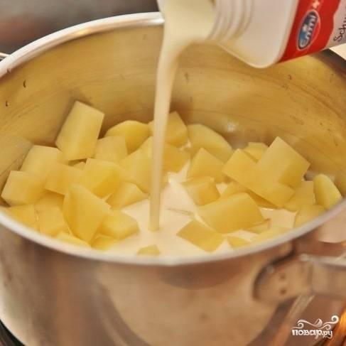 Картофель чистим и нарезаем небольшими кубиками, кладем в кастрюлю, заливаем сливками и ставим вариться до готовности.