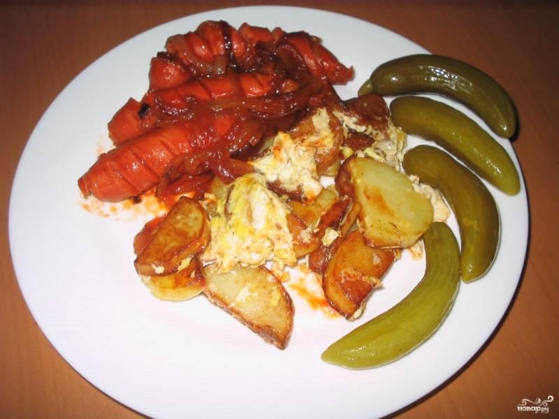 Картошка с сосиской