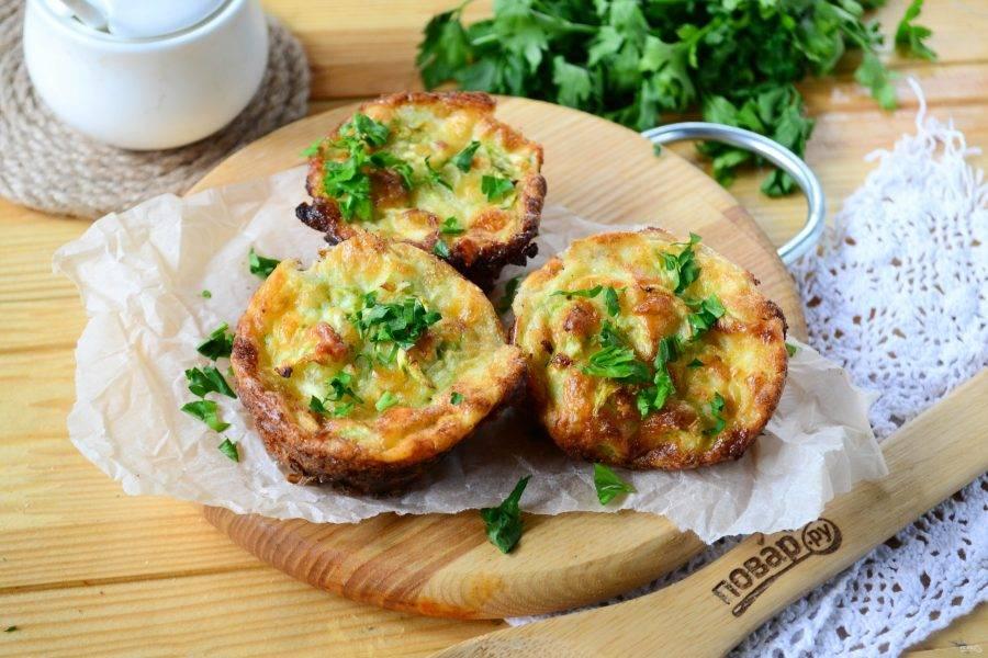 Маффины с кабачком и сыром готовы. Подавать можно как горячими, так и охлажденными. Приятного аппетита!
