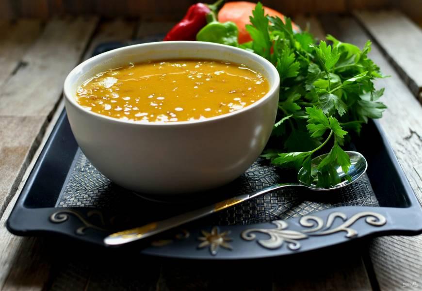 Суп-пюре с тыквой и чечевицей