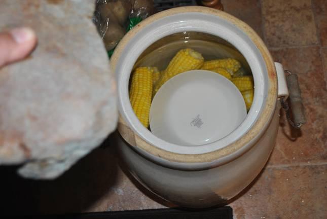 6. На початки в воде положите тарелку и придавите прессом. Подойдет природный камень.