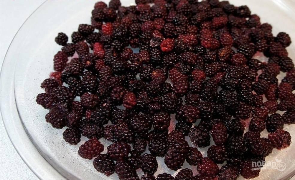 Дно жаропрочной посуды сбрызните растительным маслом. Присыпьте дно сахарной пудрой, выложите промытые ягоды.