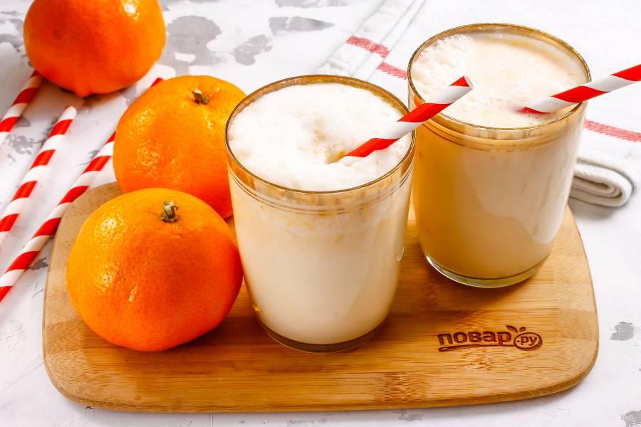 Молочный коктейль с мандаринами