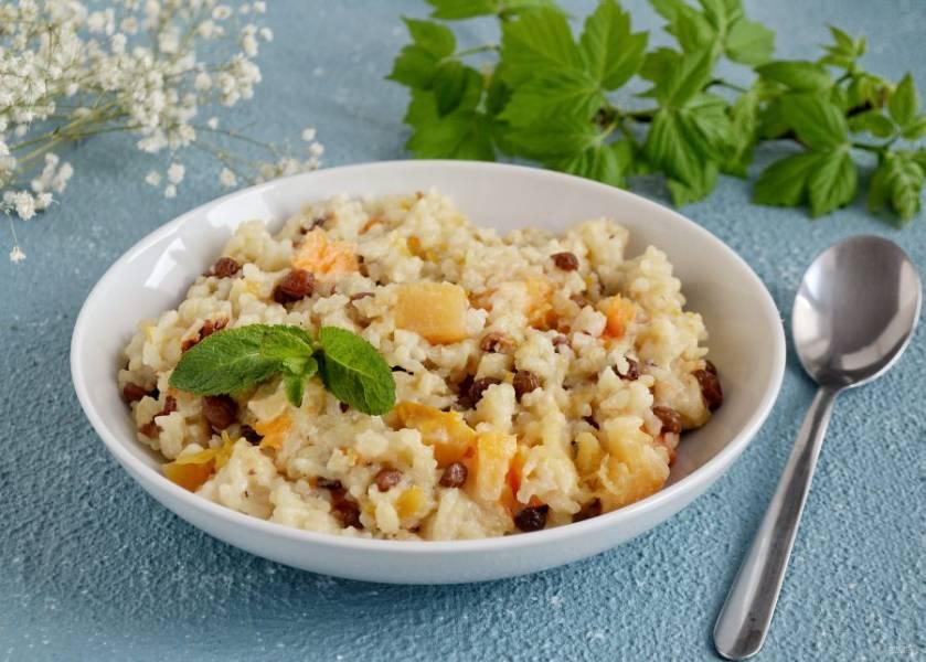 Рисовая каша с тыквой и изюмом готова, приятного аппетита!