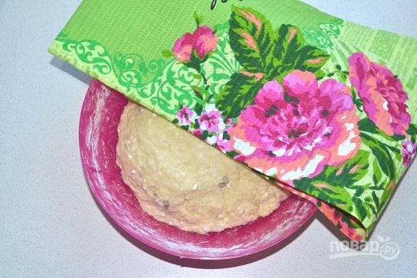 Накройте тесто полотенцем и оставьте в теплом месте без сквозняков на пару часов.