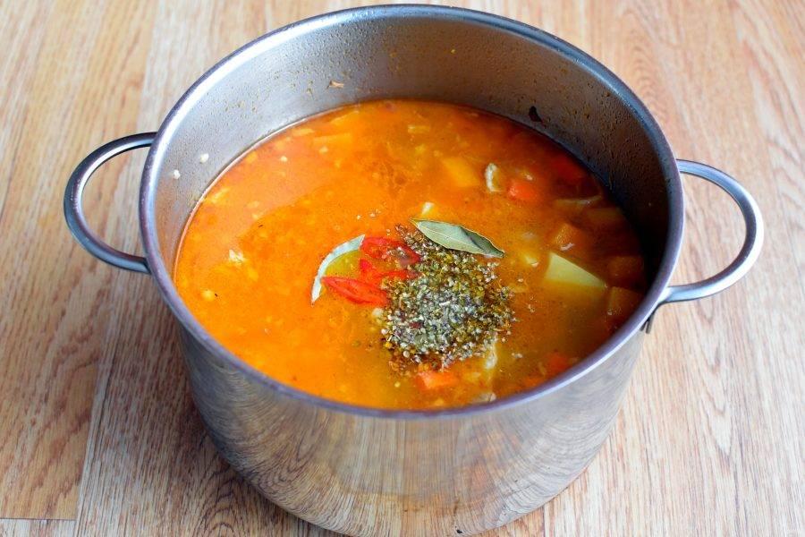 После закипания добавьте кориандр, немного свежего чили и лавровый лист. Досолите суп по вкусу, еще раз доведите до кипения и отключите нагрев. Дайте настояться под крышкой 10-15 минут.