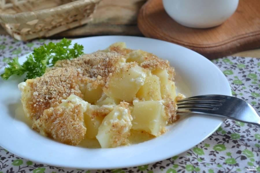 Картофель под белым соусом готов! Приятного аппетита!