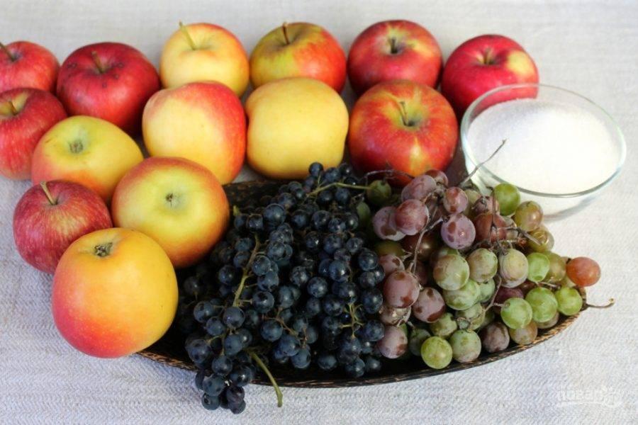 Подготовим фрукты и сахар.