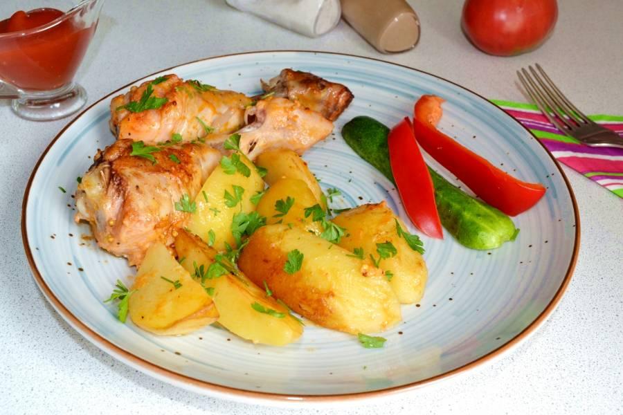 Картошка с куриными ножками в рукаве