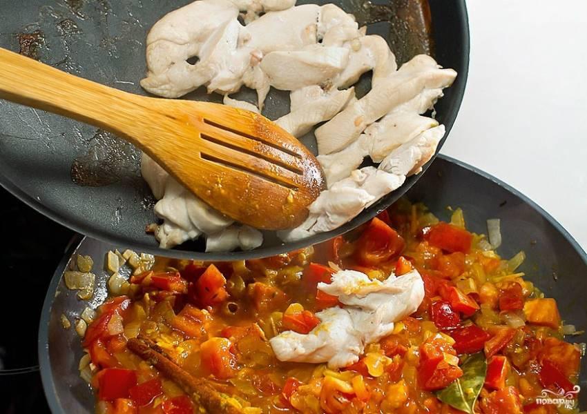 Вытаскиваем куриное филе из духовки. Кладем в сковороду к овощам. Посыпаем молотым кориандром, куркумой и чили перцем. Все перемешиваем и тушим на небольшом огне минуты три.