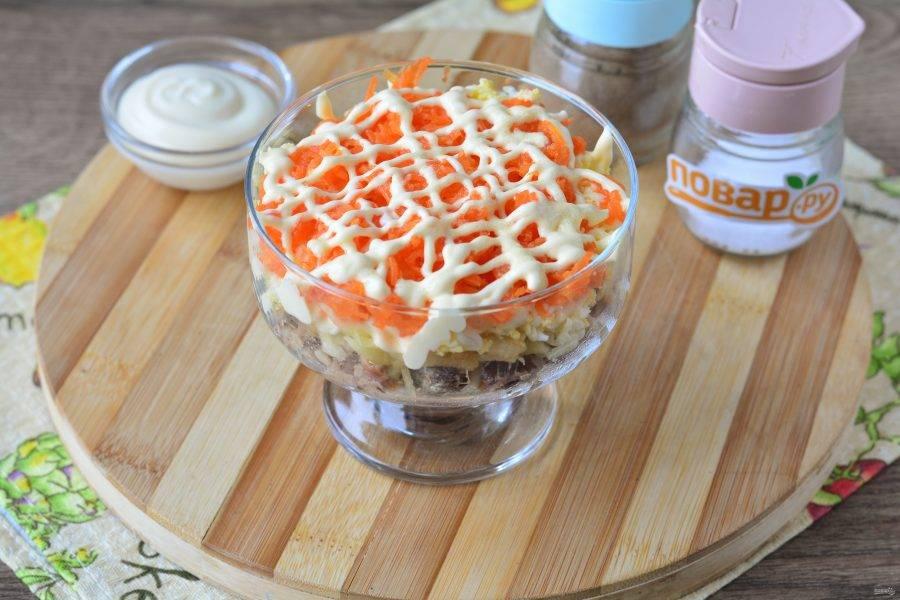 Отварите до мягкости морковку, натрите на терке, выложите в салат и полейте майонезом.