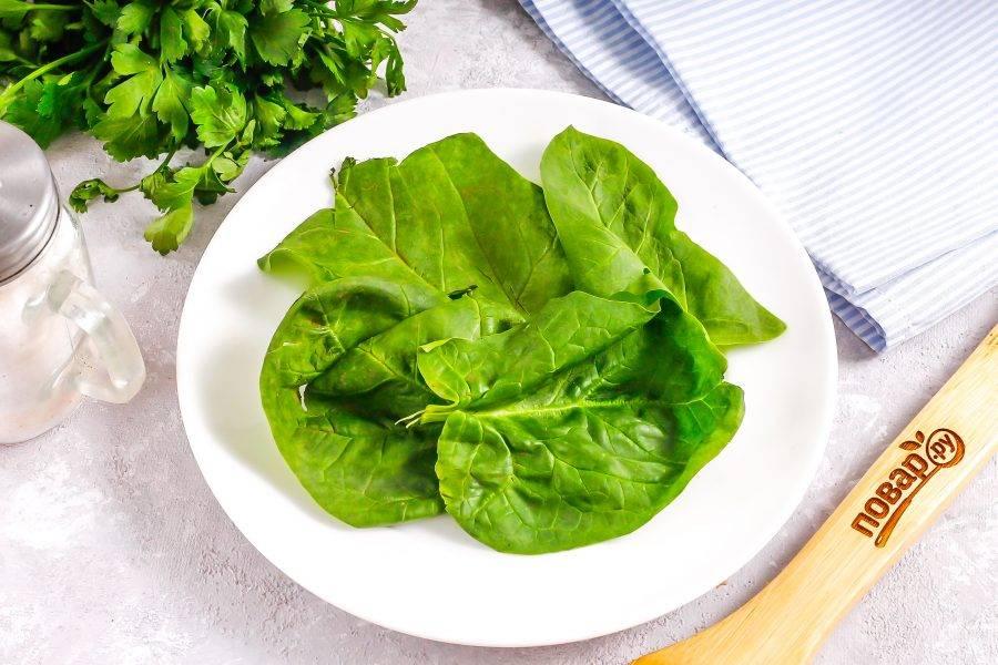Промойте листья шпината или листового салата, стряхните с них лишнюю жидкость. Выложите на тарелку.