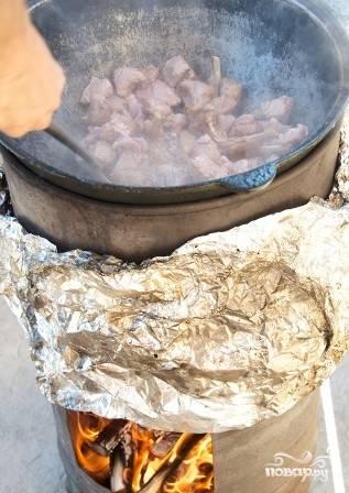 Разжигаем огонь. Подготавливаем мясо. В казан наливаем масло и кладем туда мясо обжариваться. Солим и перчим его.