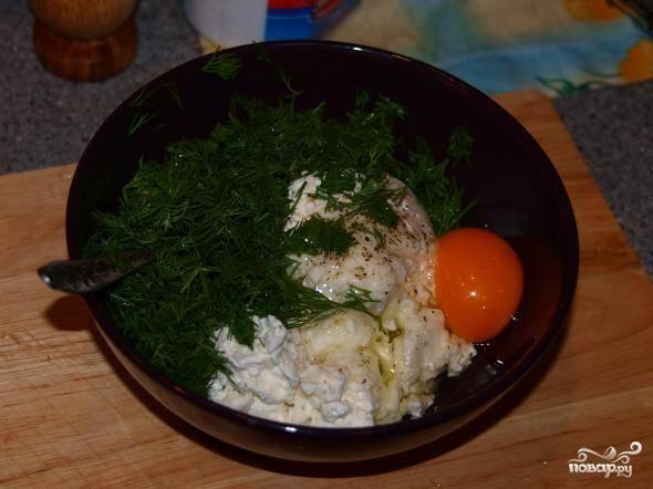 Творог нужно посолить и поперчить по вкусу. Мелко нарубить туда укропа и разбить одно яйцо.