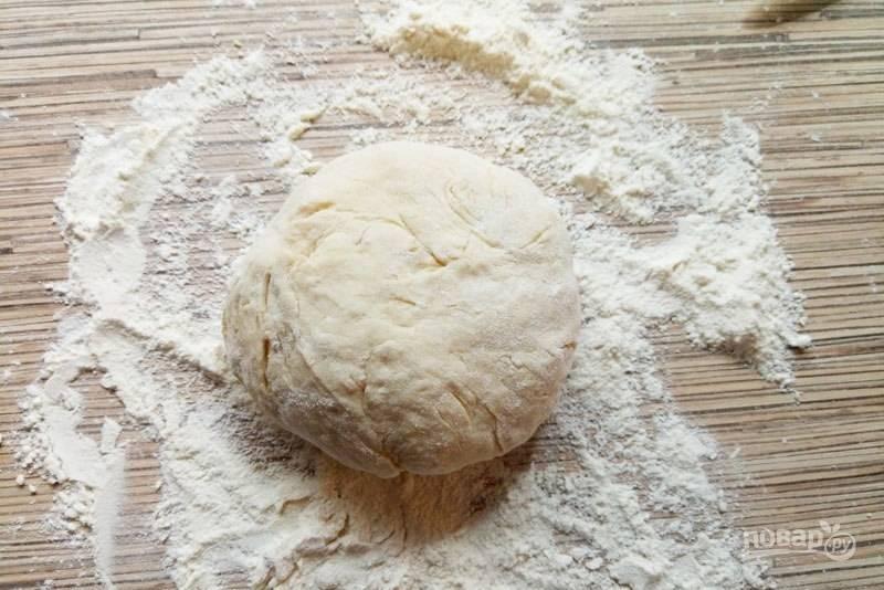 Замешайте тесто для пиццы. Его можете использовать сразу же, а также хранить в течение месяца под пищевой плёнкой в холоде.