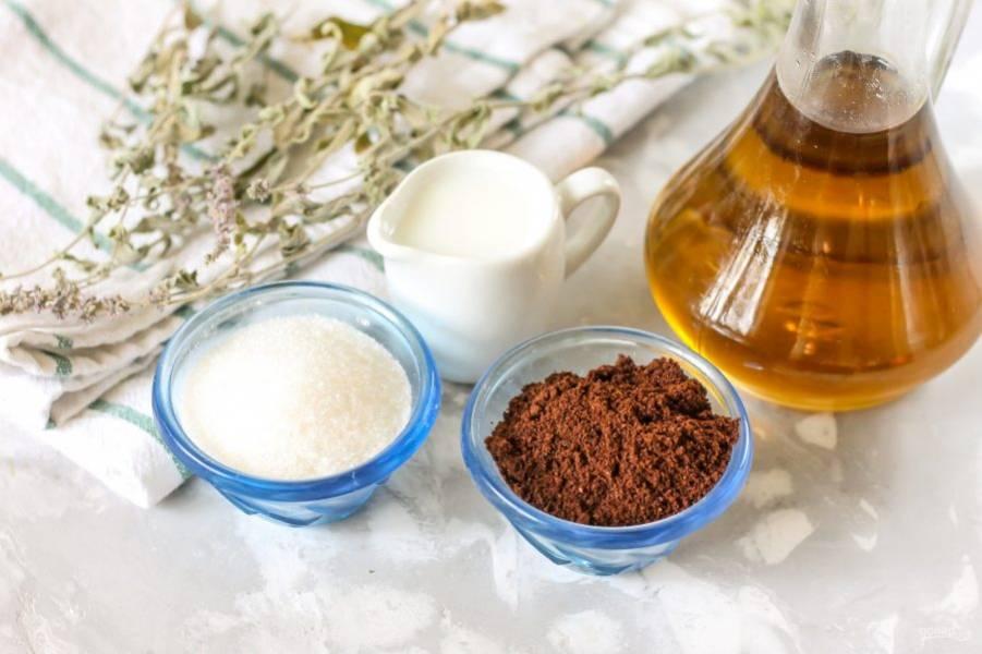 Подготовьте указанные ингредиенты. Сорт кофе может быть любой, вы можете использовать растворимый кофе, но без всяких отдушек.