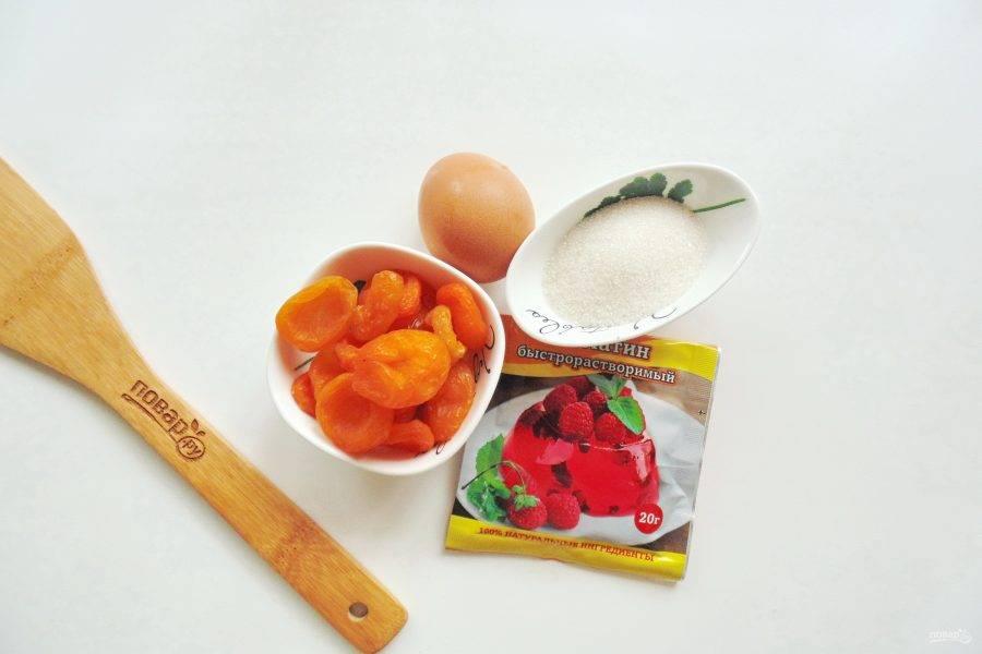 Подготовьте ингредиенты для приготовления самбука из кураги.