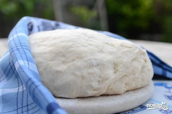 4.После этого достаю тесто и обминаю с добавлением небольшого количества муки. Дрожжевое тесто готово для выпечки пирожков.