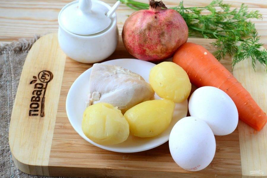 Подготовьте все необходимые ингредиенты. Отварите все овощи и куриную грудку до готовности, яйца отварите вкрутую.