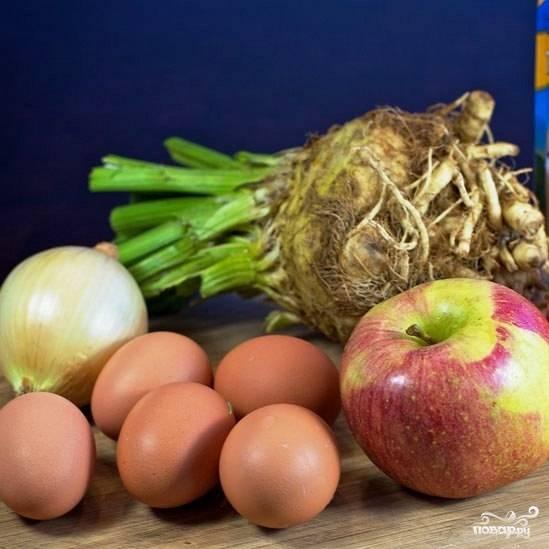 Подготовим все ингредиенты. Яйца отварим вкрутую и охладим до комнатной температуры.